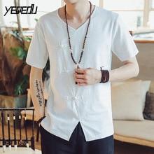 4406 V-neck Kimono Linen T shirt Men Short Sleeve Plate Buckle Vintage Hip  Hop T shirt Hombre Loose Tee Shirt Homme Black White 386f4f9cb888